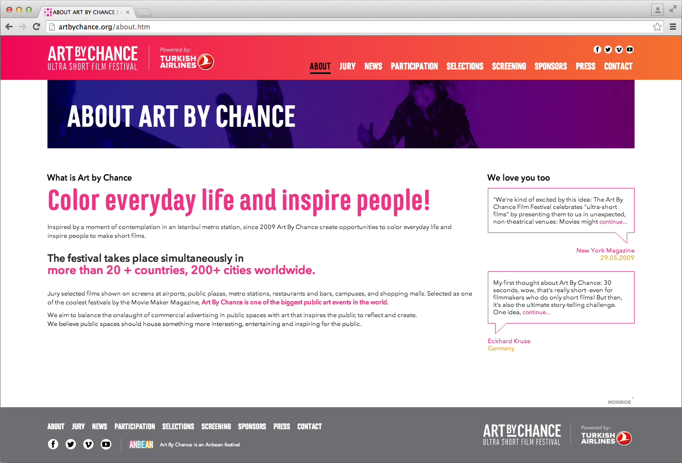 Art By Chance Ultra Short Film Festival Website
