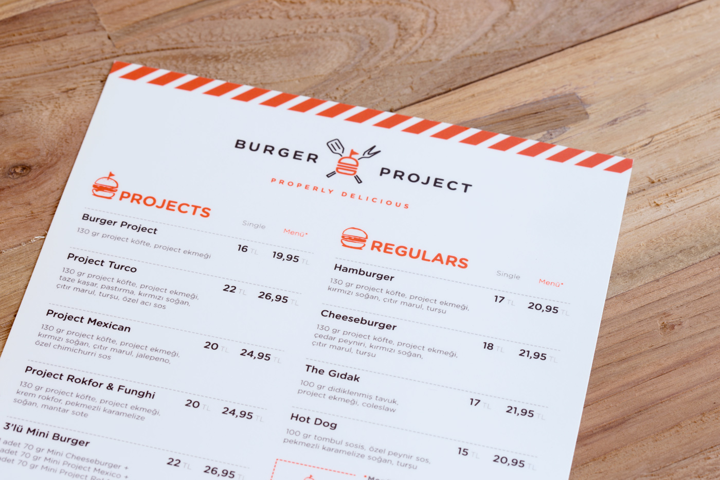 Burger Project Menu